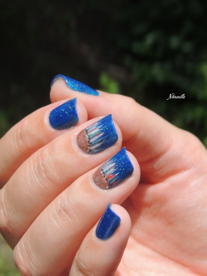 Water fall nails en demi-lune.